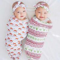bebek uyku tulumu kundaklama toptan satış-eşleşen saç bandı Uyku Çuval Bebek ücretsiz gönderim Çanta Koza Kundaklama 8 renkleri Sleeping ile yılbaşı koza çuval