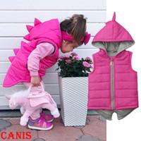 ingrosso cappuccio dinosauro per bambini-Neonata Kid Dinosaur maglione con cappuccio del rivestimento del cappotto caldo di inverno della tuta sportiva Età 1-5Y