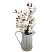 ingrosso fiori secchi di nozze-3 pz / set kapok naturale secco steli di cotone fiore essiccato piante di cotone artificiale fiore fai da te per la casa decorazione della festa nuziale