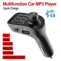 mp3 player tela grande venda por atacado-T15 multi-função do carro Adaptador Bluetooth Transmissor FM Tela Grande AUX Áudio MP3 Player Carregador de Carro Rápido