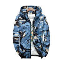 militärische kleidung für männer großhandel-Camouflage Jacke Student Hooded Sports Jacke Herren Fashion Holiday Camo Hooded Sonnenschutz Military Jacke Parka Streetwear Bekleidung