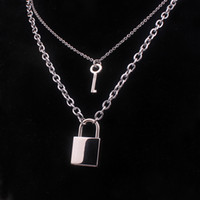Wholesale heavy pendants for men for sale - Group buy 100 Stainless Steel Padlock Key Necklace For Women Men Lock Chain Necklaces Heavy Duty Gothic Streetwear Choker Metal Collar