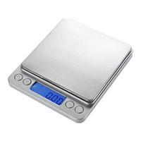 küchenwaagen gewichte großhandel-Tragbare digitale Schmuck-Präzisions-Taschenwaage mit einem Gewicht von Waagen Mini-LCD-Küche Ausgleichsgewicht Waagen 200 g 500 g / 0,01 g 1000 g 2000 g / 0,1 g