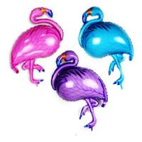 Wholesale birthday coatings resale online - Flamingo Shape Balloon Aluminum Film Balloons Ins Hawaiian Party Supplies Wedding Birthday Purple Blue Creative New fy D1