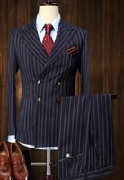damadın ustalığı toptan satış-Düğün Damat Smokin Tailcoat Erkekler erkek 2 parça suits Vintage Kruvaze Takım Elbise Siyah Beyaz Şerit Terno Slim Fit Büyük yaka