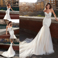 Wholesale lace romantic sexy wedding dresses for sale - Group buy Sexy Sweetheart Strapless Lace Mermaid Wedding Dress Romantic Court Train Appliques Backless Wedding Gowns