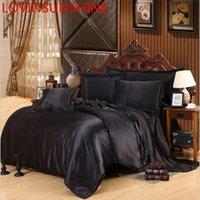 conjuntos de lençóis de seda venda por atacado-LOVINSUNSHINE Folha de luxo cama King Size US Silk Duvet Cover Set cetim de seda cama conjuntos AX06 #