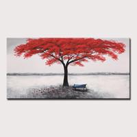 pintura abstracta árbol rojo al por mayor-Mintura arte de gran tamaño pintado a mano pintura al óleo del árbol rojo en la lona moderna abstracta cartel de la imagen de pared para la decoración casera sin marco