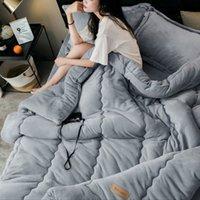 cama caliente reina al por mayor-Edredón de franela engrosada Edredones nórdicos cálidos para el otoño de primavera. Edredones de cama de poliéster 100% para edredón de invierno.