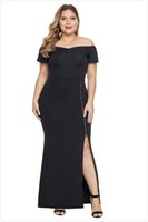 vestidos xl online al por mayor-Venta al por mayor negro Plus Size Dress Midi en línea de xl a 5xl