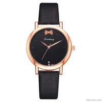Wholesale women bow watches resale online - Fashion Women Rose Gold Leather Bow knot Women Dress Watches Luxury Business Watchs Watch Relojes Para Mujer Ls1081