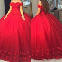 Wholesale 15 off resale online - 2020 Red Off Shoulders Ball Gown Quinceanera Dresses Corset Backless Hand Made Flowers Sweet Sixteen Vestidos de Anos Pageant Dress Prom