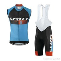 Wholesale yellow scott bicycles for sale - Group buy SCOTT team Summer Men team Cycling Sleeveless Vest jersey bib shorts sets D gel pad Breathable bicycle clothing Sportswear K061704