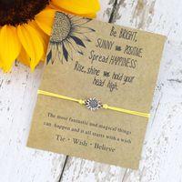 recuerdo de san valentín al por mayor-Girasol Diseño Pulseras Amistad Hermana Regalos Pulsera Trabajo en equipo Souvenir Artesanías hechas a mano para cumpleaños Chicas Moda Joyería floral