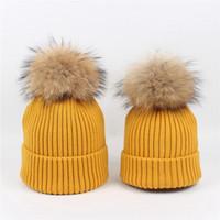Wholesale cap fur ball top resale online - Baby Mom Beanies Wool Boys Girls Hats Women Knitted Hat Real Raccoon Fur Pom Pom Ball Caps Children Hats Kids Warm Beanie Cap