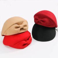 Wholesale black fascinator purple for sale - Group buy 2019 Ladies Red Wedding Hat For Women Vintage Wool Felt Pillbox Hats Black Fascinator Winter Fedoras Bow Beret Church Hats Y200102