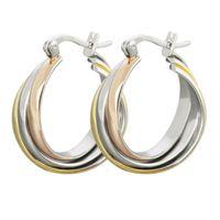 Silver Gold Rose Gold Twisted Steel Rings Hoop Huggie Piercing Clip-On Earrings for Women