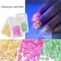 Wholesale 3d crystal stickers resale online - Diamonds Nail Stickers Glowing Designs Nail Decoration D Glitter Luminous Fluorescent Diamond Gem Crystal Art Decoration
