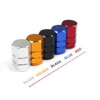 tapas de válvulas de neumáticos de metal al por mayor-4 Unids / pack Válvula de Neumático de Coche Tapas de Vástago Decoración de Rueda Automática Aleación de Metal Tuerca Neumática Cubierta Estética Accesorios