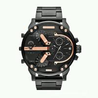 relógios de quartzo venda por atacado-Top de Luxo Mens Watch Marca Big Dial Militar Relógios Dois Fusos Horários de Quartzo Esporte Relógios de Pulso Presentes Relógio Relogio masculino