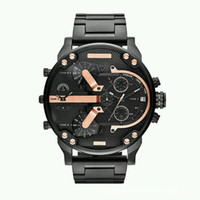 uhren branding großhandel-Top Luxus Herrenuhr Marke Big Dial Militäruhren Zwei Zeitzonen Quarz Sport Armbanduhren Uhr Geschenke Relogio Masculino