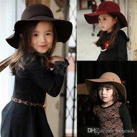 klasik şapkalar toptan satış-Sonbahar Kış Sıcak Çocuk Erkek Kız Vintage Geniş Ağız Kap Yumuşak Yün Ilmek Bowler Hissettim Disket Çocuk Güneş Şapka Plaj Şapka TO501