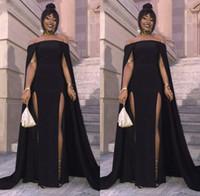 ingrosso i vestiti da sera eleganti neri fendono-Abiti da sera lunghi 2019 Sexy collo alto con scollo a fessura Elegante da donna africana da party Abito da sera nero a sirena