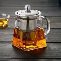 filtre cam demlik toptan satış-350ml Cam Çay tencere Yüksek sıcaklık Direnci Isıya dayanıklı Paslanmaz Çelik Filtreleme Çaydanlık Kare Çiçek Çaydanlık FFA3073 drking