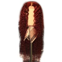 ingrosso parrucche colorate in pizzo colorato-Parrucca anteriore in pizzo bordeaux Parrucche piene di capelli colorati in pizzo parrucca ricurva parrucca rossa riccia 99J per donne brasiliane Remy