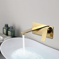 Wholesale brass wall mounted tap for sale - Group buy Bathroom Sink Mixer Basin Faucet Wall Mounted Washbasin Faucet Waterfall Tap Mixers Brass Taps White Gold grey
