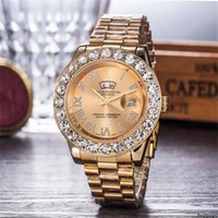 Wholesale inlaid diamond watch resale online - buygogo Stainless Steel Folding buckle watchband Men s watches Luxury Double calendar Crystal diamond inlay Clock dial Men Quartz watches