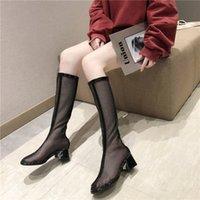 botas altas negras para niñas al por mayor-Negro blanco transpirable de malla de las señoras botas 2019 zapatos de verano de las mujeres hasta la rodilla botas de cremallera de moda niñas botas feminina