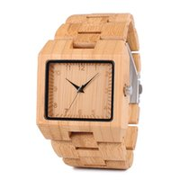 Wholesale custom logo watches for sale - relogio Handcrafted Bamboo Wood Original Watches Custom Logo Rectangle Design Your Own Brand Ebony Wooden Wristwatch BOBO BIRD L22