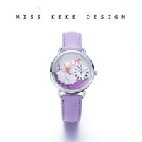 reloj ginebra morado al por mayor-avender purple Miss Keke 2018 Nuevo diseño Clay Cute Geneva Small Size 32mm Dress Girl Watches Niños Mujeres Presente Purple Princess Laven ...