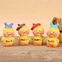 Wholesale ducks china online - Yellow duck resin Design craft supplies Prop art work Mini Toys window parts Ornament cartoon Maiden heart birthday present xmb1