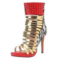 ingrosso scarpe da sera in pelle-Vendita calda- Nuovi sandali classici con tacco alto da donna Sandali in pelle patchwork Scarpe estive sexy Vestito da ballo per feste Vestito da sera Sandali da sera N065