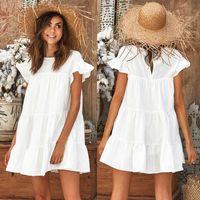 gelbes kurzes hülse beiläufiges kleid großhandel-Mode Lässig Damen Damen Kleider Sommer Kurzarm Mini Tank Kleid Süße Lose Strand Sommerkleid Rot Weiß Gelb Y19012102