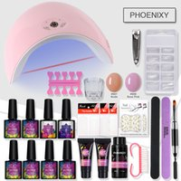 Wholesale yellow gold nails resale online - Nail Kit Poly Gel Set w UV Lamp UV Gel Varnish Nail Polish Kit Quick Building For Nails Extensions Hard Jelly Manicure Set