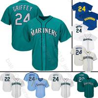 ingrosso bande di baseball pullover di ritorno-Seattle Mariners 24 Ken Griffey Jr 51 Ichiro Suzuki 22 Robinson Cano uomini 150 ° Baseball Maglie