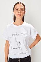 ingrosso camicia dei fidanzati-T-shirt in maglia fidanzata bianca Trendyol TWOSS19HS0067
