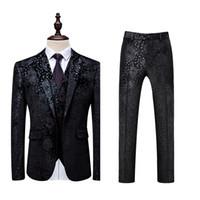 мужские дизайнерские костюмы оптовых-Men Black Wedding Suit Prom Dress Tuxedo Slim Fit Fashion Flower Patchwork Mens 3 Piece Suit Designer Formal Suits for Men DT534