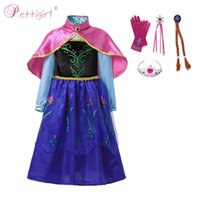Wholesale party dresses queens for sale - Pettigirl Girl Anna Princess Costume Snow Queen Halloween Cosplay Dress with Cloak Embroidery Party Fantasy Dress Up G NBGD1101