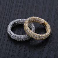 conjunto de anillos de boda de circón al por mayor-925 Anillos de plata esterlina Anillos de compromiso Conjuntos de boda Joyería de diseñador Hip Hop Hombres Zircon Love Ring Iced Out Charms