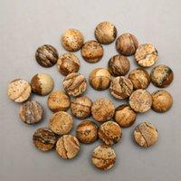 12 mm yuvarlak kabakon küpe toptan satış-Kaliteli 50 Adet / grup resim doğal taş yuvarlak 12mm cabochon boncuk takı moda Yüzük Kolye Küpe aksesuarları