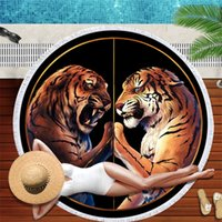 Wholesale sale printed towels for sale - Group buy Circular Tiger Printing Beach Towel Tassels Yellow Blue Bath Towels Fine Fiber Water Uptake Tapestry Hot Sale Soft amD1