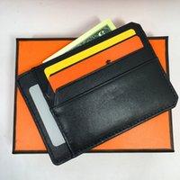 licenciamento de negócios venda por atacado-Titular do Cartão de Crédito Rfid Carta de Condução de Luxo Carteira De Couro Genuíno Magro Banco ID Caso de Cartão de Negócios de Moda Homens Bolsa de Bolso Bolsa Bolsa