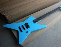 Wholesale string shaped guitar online - Factory Blue Electric Guitar with Unusual Shape Body Pickup Black Hardwares No Fret Inlay Can be Customized