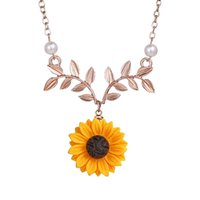 Wholesale sunflower necklace pendant for sale - Group buy European and American Cute Simple Jewelry Pearl Sun Flower Necklace Sweater Necklaces Feminine Fashion Sunflower Pendant Jewelry