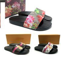 calcanhares para mulheres venda por atacado-2019 Designer de flor de luxo sandálias de salto alto sandálias de couro designer de impressão de couro Macio de borracha dos homens mulheres sandálias chinelo tamanho 36-46 com caixa