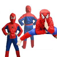 niños cosplay chicos disfraces al por mayor-Comic Superhero niños de Cosplay del traje de Halloween del hombre araña Diseñador Spider Man Cos Ropa niños muchachos de la ropa de escena del teatro Establece 06